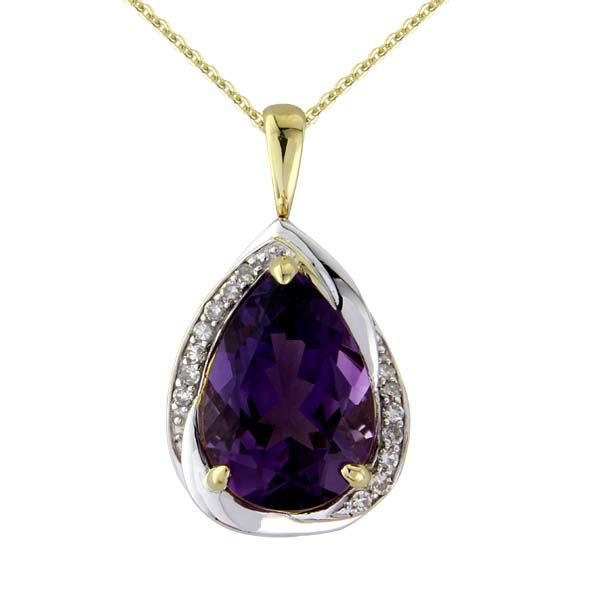 9ct Yellow Gold Pear Shaped Facated Amethyst and diamond Pendant £550 On Sally Thornton Jewellery blog from Thorntons Jewellers Kettering Northampton