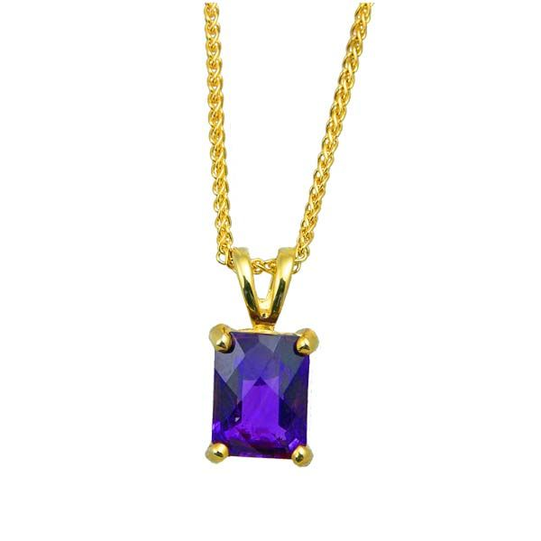 9ct Yellow Gold Rectangular Amethyst Pendant £115 On Sally Thornton Jewellery blog from Thorntons Jewellers Kettering Northampton
