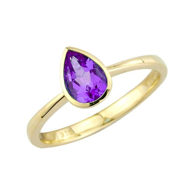 9ct Yellow Gold rub over pear shaped Amethyst ring £140 On Sally Thornton Jewellery blog from Thorntons Jewellers Kettering Northampton