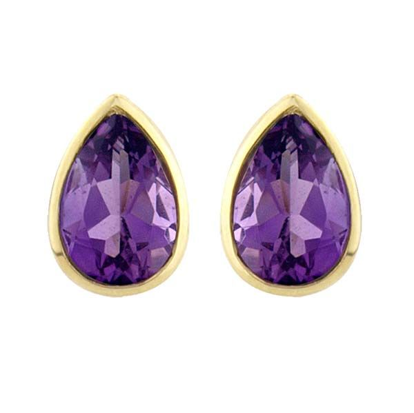 9ct Yellow Gold rub over pear shaped Amethyst stud earrings £99 On Sally Thornton Jewellery blog from Thorntons Jewellers Kettering Northampton