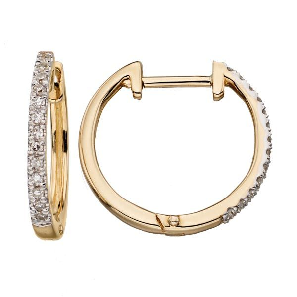 9ct small diamond set hoop earrings from Thorntons Jewellers Kettering Northampton