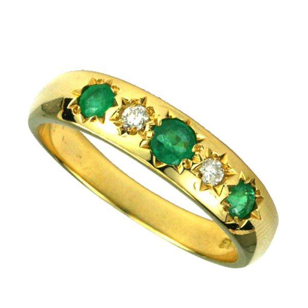 9ct yellow gold 5 stone emerald and diamond ring £725 from Sally Thornton Jewellery blog at Thorntons Jewellers Kettering