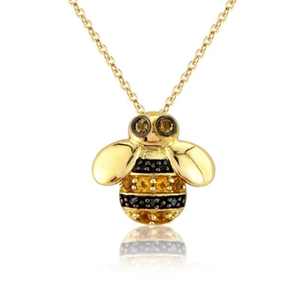 9ct yellow gold black diamond and citrine bumblebee pendant £250 on Sally Thornton Jewellery blog on flying inspiration at thorntons jewellers kettering northampton