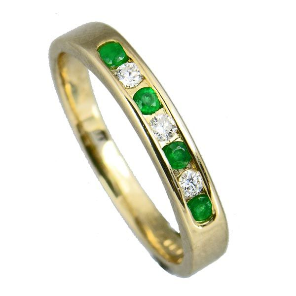9ct yellow gold channel set emerald & diamond half eternity ring £490 from Sally Thornton Jewellery blog at Thorntons Jewellers Kettering