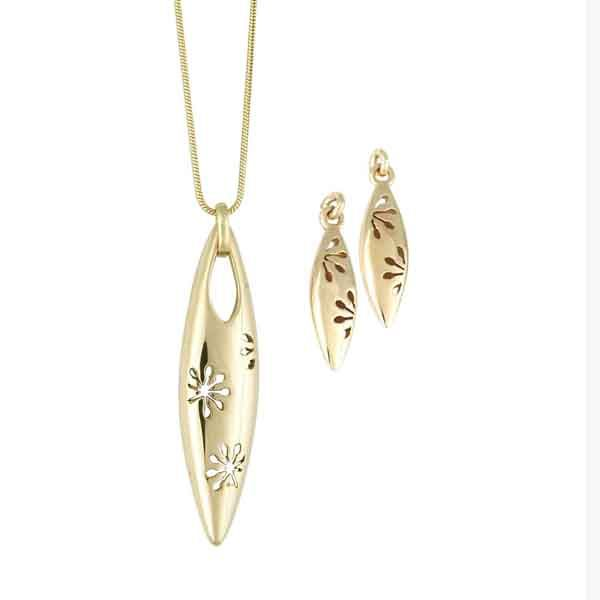 9ct yellow gold cut out flower pendant & earrings from AA Thornton Jewellers Kettering Northampton