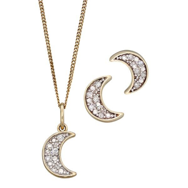9ct yellow gold & diamond crescent moon pendant on chain £170 and earrings £125 Sally Thornton Jewellery blog Kettering Northampton