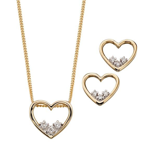 9ct yellow gold diamond heart pendant on chain  & earrings from Thorntons Jewellers Kettering Northampton