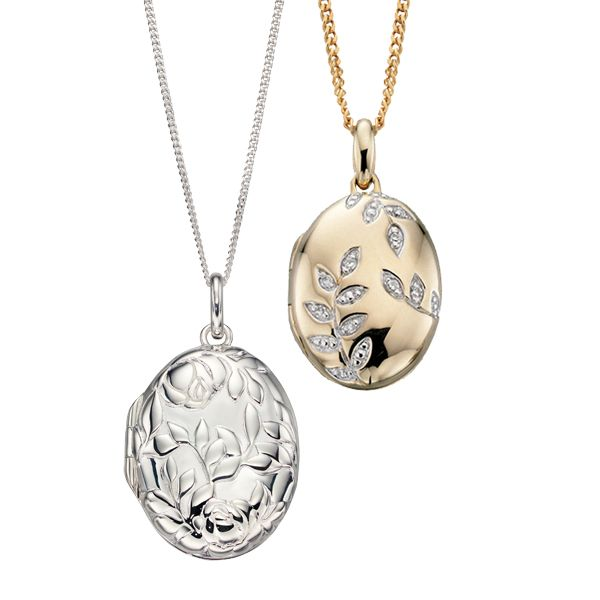 9ct yellow gold diamond oval leaf locket & Silver embossed rose bush locket on Sally Thornton jewellry blog at Thorntons Jewellers Kettering
