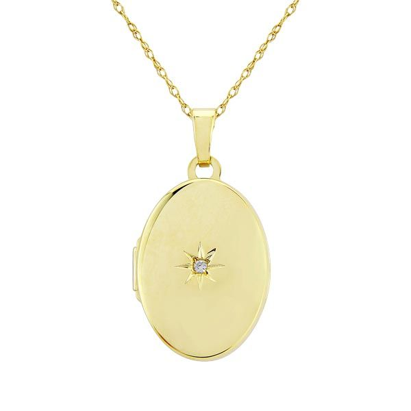 9ct yellow gold diamond set locket on chain £255 600 600
