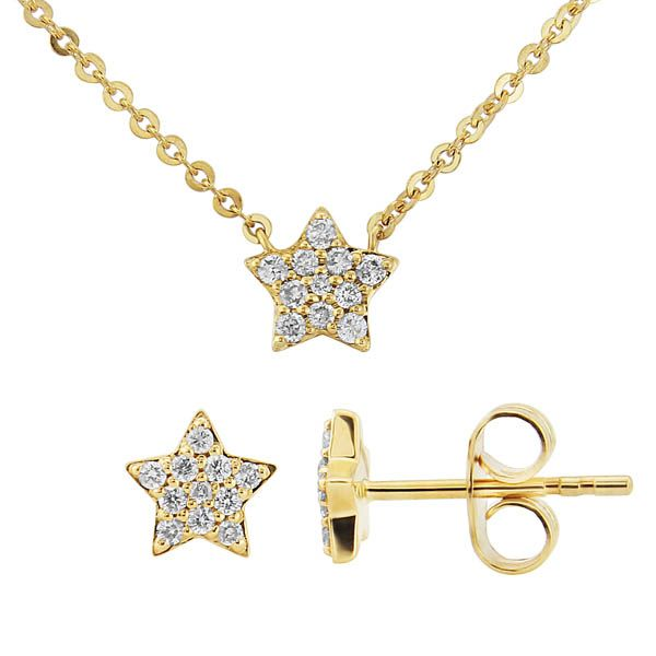 9ct yellow gold diamond star necklace £350 & matching earrings £375on sally thornton jewellery blog from thorntons jewellers kettering