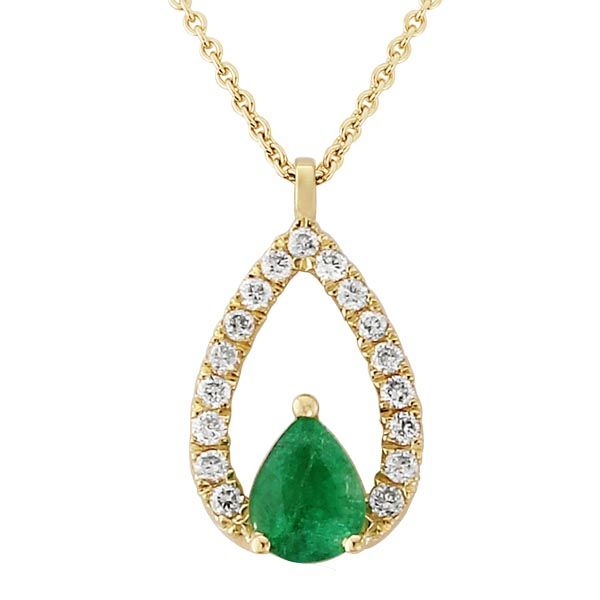 9ct yellow gold emerald & diamond pendant & chain £585 from Sally Thornton Jewellery blog at Thorntons Jewellers Kettering