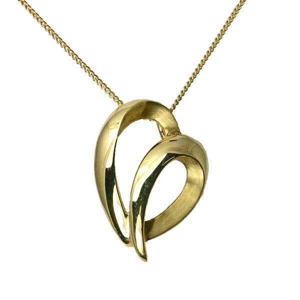 9ct yellow gold satin & polished heart pendant from Thorntons Jewellers Kettering Northampton