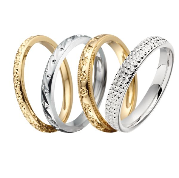Bright cut engraved wedding rings from AA Thornton Jewellery Kettering Northampton