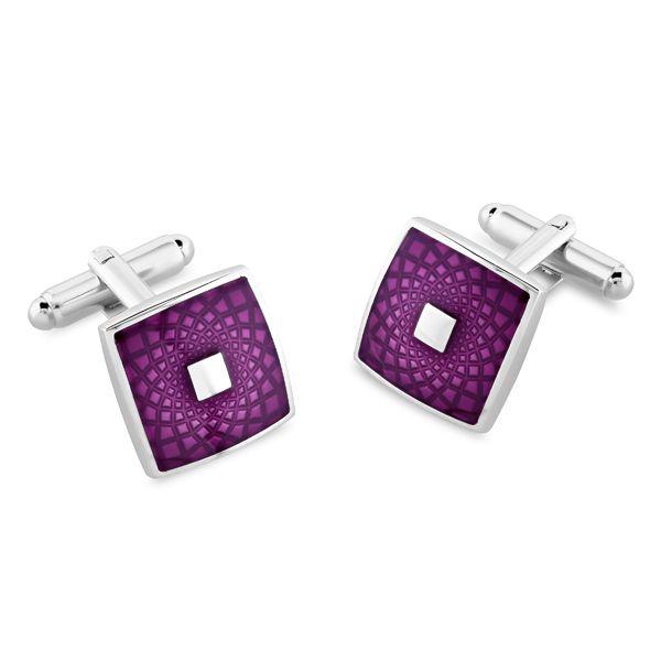 Chambers purple enamel cufflinks from AA Thornton Jeweller Kettering Northants