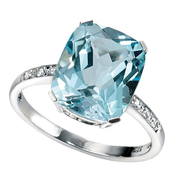 Chunky sea blue topaz ring set with small diamonds on the shoulders £420 on Sally Thornton jewellery blog from Thorntons Jewellers Kettering Northampton