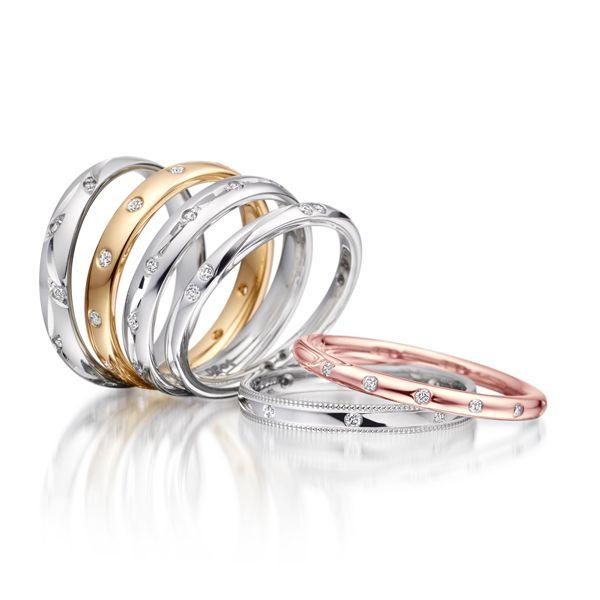 Diamond set ladies wedding bands from AA Thornton Jeweller Kettering Northampton