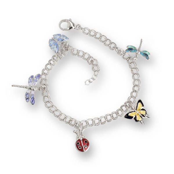 Enamel on Rhodium Plated Sterling Silver Insects Bracelet £180 Sally Thornton Jewellery blog on flying inspiration at thorntons jewellers kettering northampton