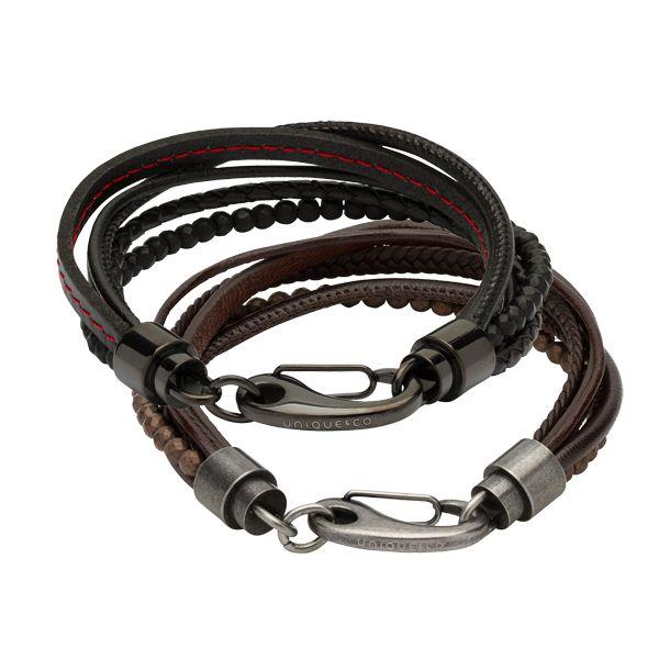 Gents multi strand leather & hematite bead bracelet in black or brown from AA Thornton Jeweller Kettering Northampton