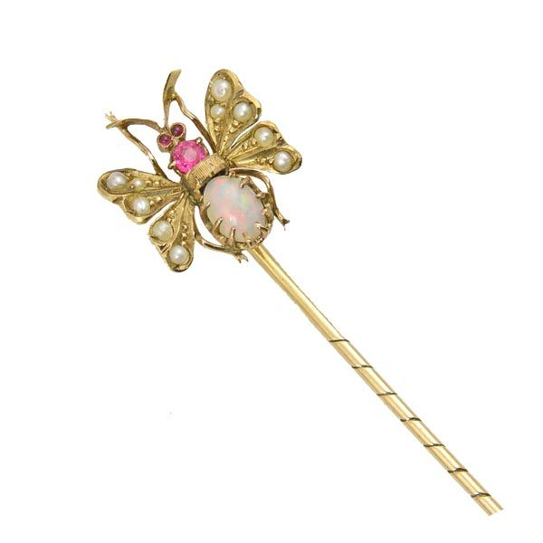 Gold victorian stone set butterfly stick pin on Sally Thornton Jewellery bog form thorntons jewellers Kettering Northampton