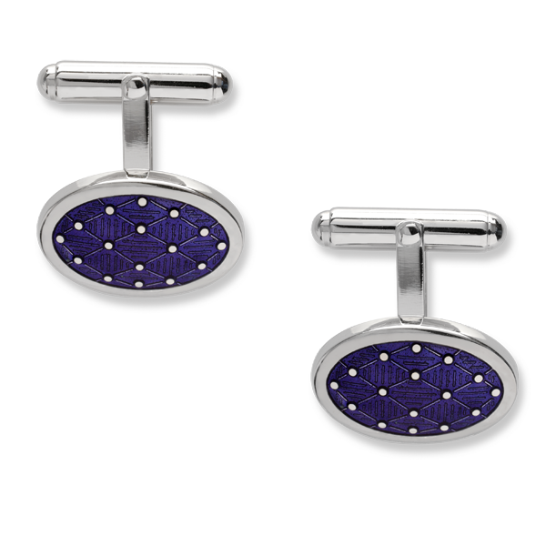 Harlequin silver & purple enamel cufflinks from AA Thornton Jeweller Kettering Northampton