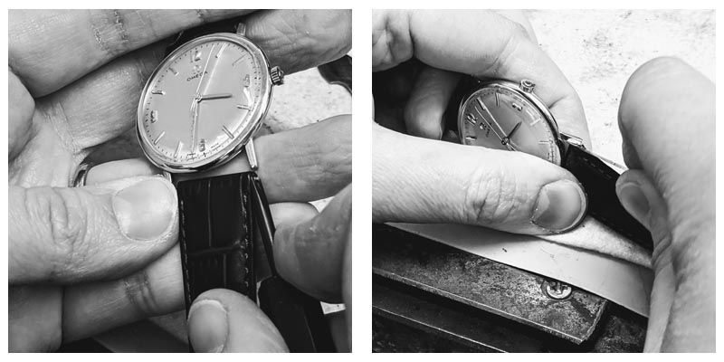 Fitting a new watch strap to an Omega at Thorntons Jewellers Kettering Northampton