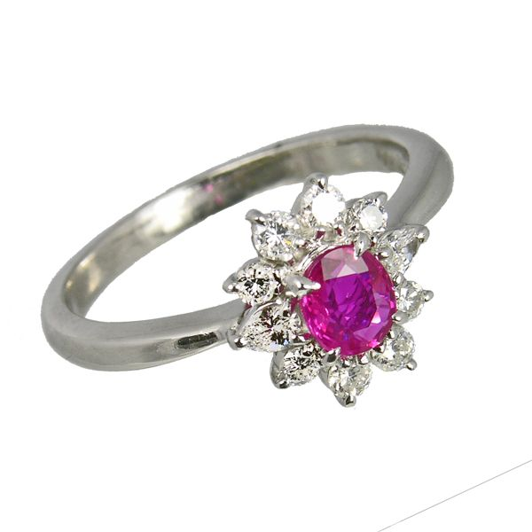 Pre loved second hand Platinum ruby & diamond cluster ring ref 99314 £1,725 from Thorntons Jewellers Jewellery collection Kettering