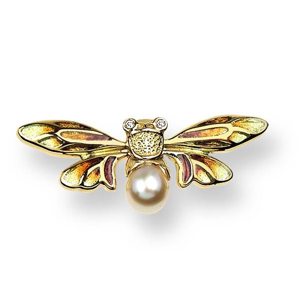 Plique-a-Jour Enamel on 118 ct Gold Bee Lapel Pin-Gold Set with Diamonds and akoya pearl on Sally Thornton Jewellery blog on flying inspiration at thorntons jewellers kettering northampton