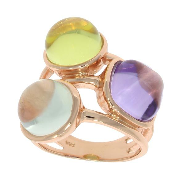 Rose gold green and purple amethysts with lemon quartz in this triple nugget ring on Sally Thornton jewellery blog from Thorntons Jewellers Kettering Northampton