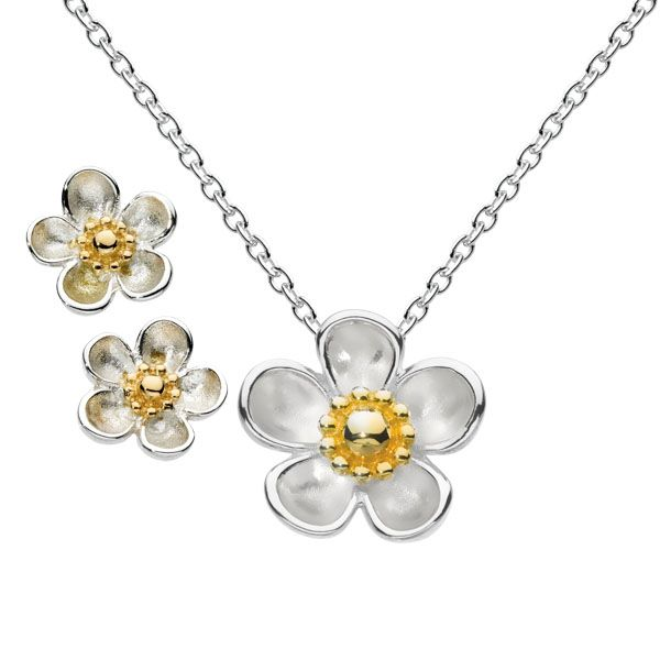 Rose wood blossom gold plate stud earrings & necklace from Thorntons Jewellers Kettering Northampton