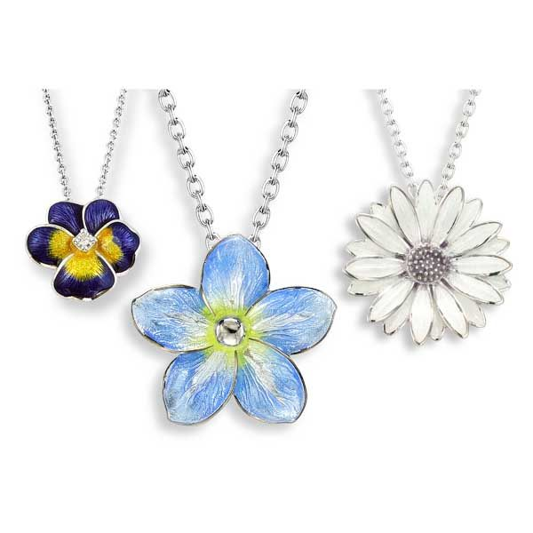 Sterling Silver enamel necklaces, Purple Pansy with White Sapphires  Forget-me-not & White African Daisy Thorntons Jewellers Kettering ref 99167, 99172, 99173
