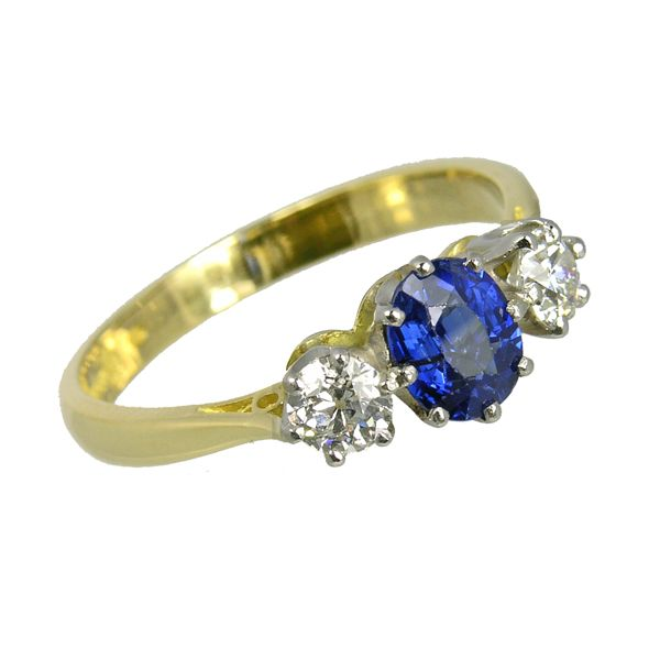 Pre lovedSecond Hand 18ct Sapphire & Diamond 3 Stone Ring ref 99313 £1,850 from Thorntons Jewellers Kettering Northampton Jewellery collection