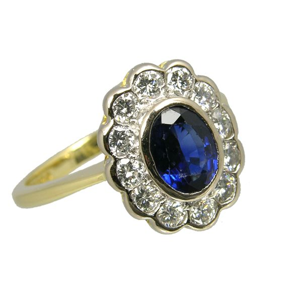 Pre Loved Second Hand 18ct sapphire & diamond cluster ring ref 99311 £1,995 from Thorntons Jewellers Jewellery collection Kettering Northampton