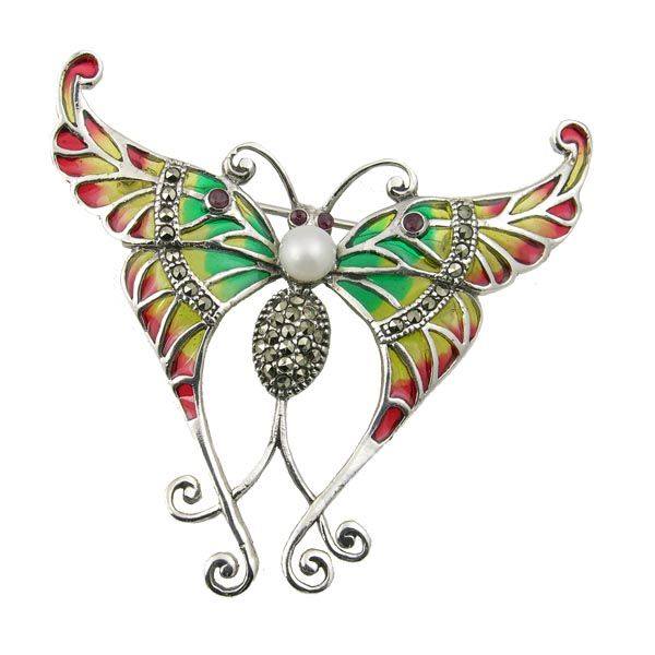 Pre loved enamel gem and marcasite butterfly brooch £125 Sally Thornton Jewellery blog on flying inspiration at thorntons jewellers kettering northampton