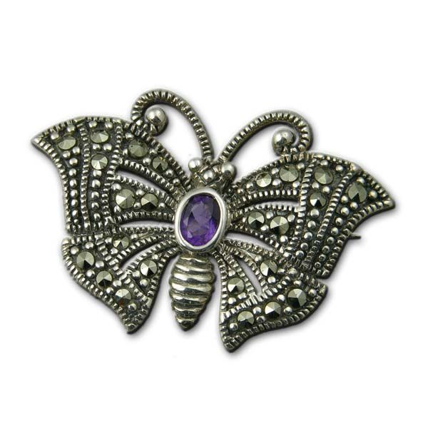 Silver Amethyst Marcasite Brooch £54 On Sally Thornton Jewellery blog from Thorntons Jewellers Kettering Northampton