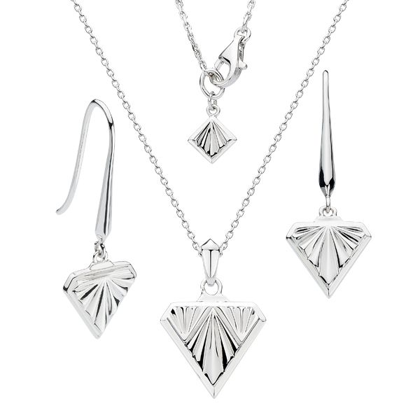 Silver Art Deco style necklace & drop earrings from AA Thornton Jeweller Kettering Northampton