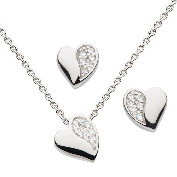 Silver & CZ sweetheart stud earrings & necklace from AA Thornton Kettering Northampton
