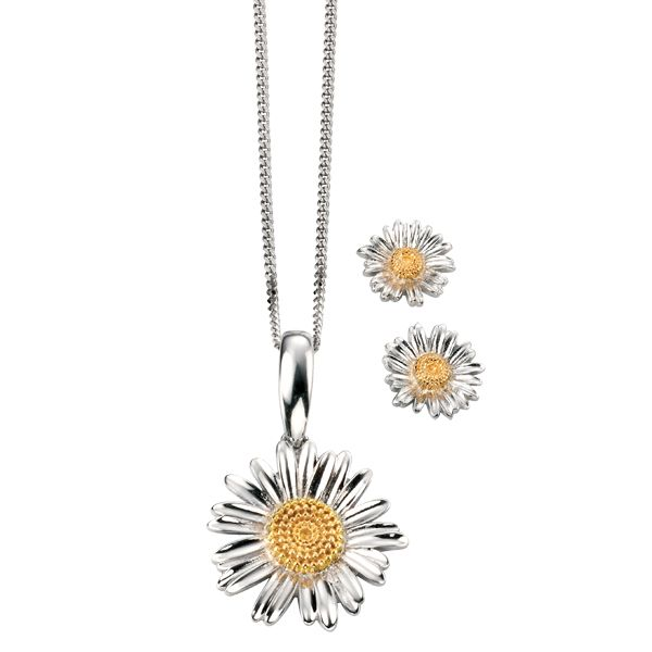 Silver daisy pendant and stud earrings from AA Thornton Jeweller Kettering Northampton
