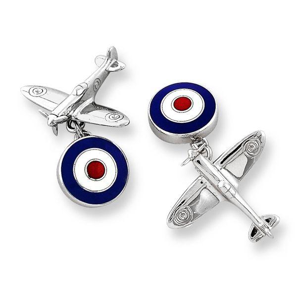 Silver enamel spitfire cufflinks from AA Thornton Jeweller Kettering Northampton