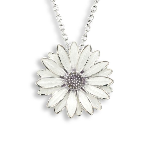 Silver enamel white African daisy necklet from AA Thornton Jeweller Kettering Northampton
