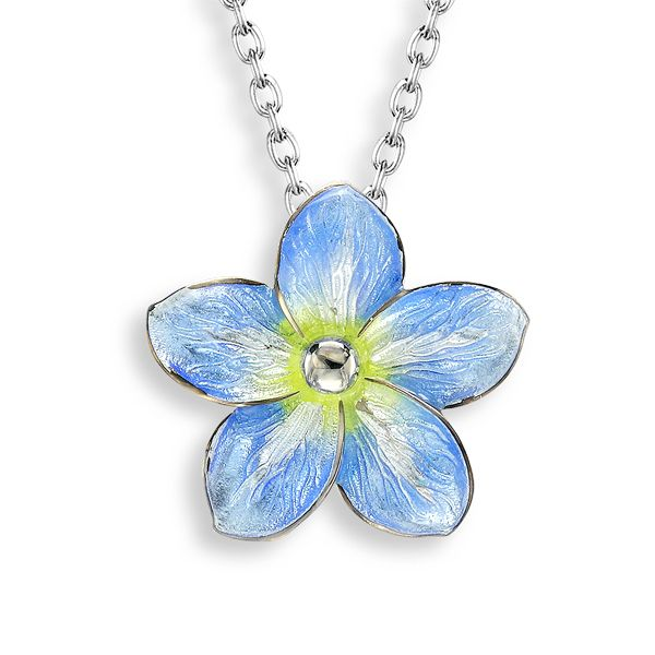 Silver forget me not enamel pendant from AA Thornton Jeweller Kettering Northampton