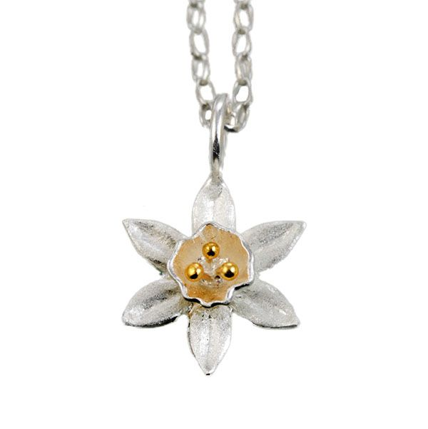 Silver & gold plate daffodil pendant From AA Thornton Jeweller Kettering Northampton