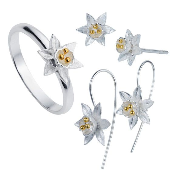 Silver & gold plate daffodil, ring , hook earrings & stud earrings from Thorntons Jewellers Kettering Northampton