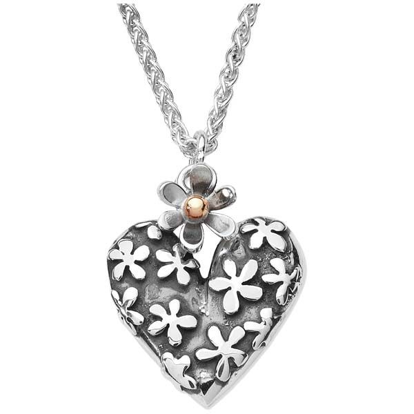 Linda Macdonald Silver hearts and flowers necklace with 9ct gold inlay from Thorntons Jewellers Jewellery blog by Sally Thornton