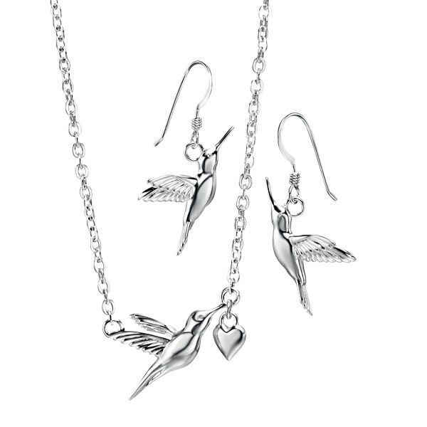 Silver hummingbird pendant £49 & drop earrings £35 Sally Thornton Jewellery blog on flying inspiration at thorntons jewellers kettering northampton