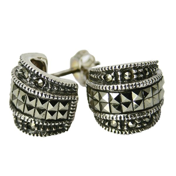 Silver marcasite Art Deco style cuff earrings from AA Thornton Jeweller Kettering Northampton