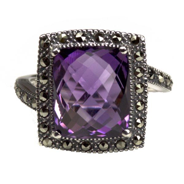 Silver marcasite & amethyst square ring £139 on Sally Thornton jewellery blog from Thorntons Jewellers Kettering Northampton