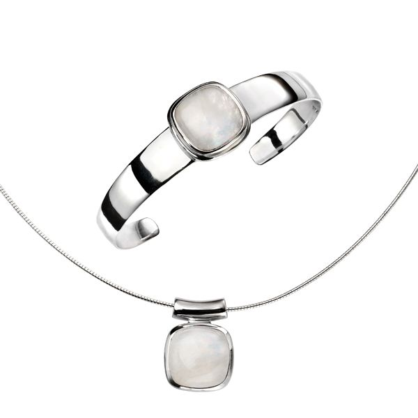 Silver & rainbow moonstone bangle and pendant from AA Thornton Jeweller Kettering Northampton