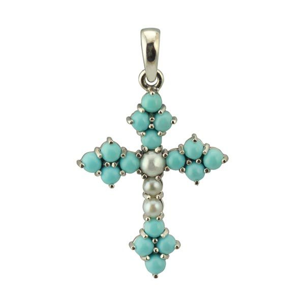 Silver turquoise and seed pearl cross from Thorntons Jewellers Ketterting Northampton
