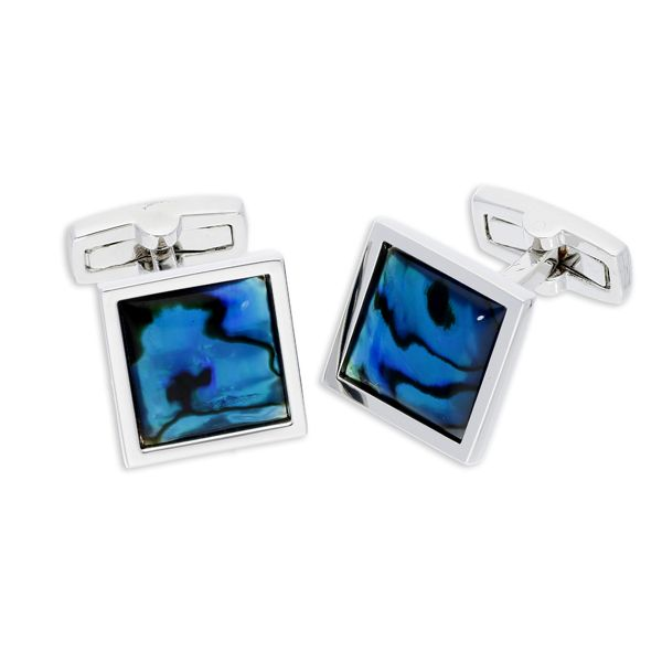Square blue abalone cufflinks from AA Thornton Jeweller Kettering Northampton