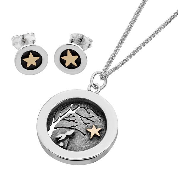 Twilight silver and gold star earrings £59 & pendant £132 sally thornton jewellery blog kettering northampton